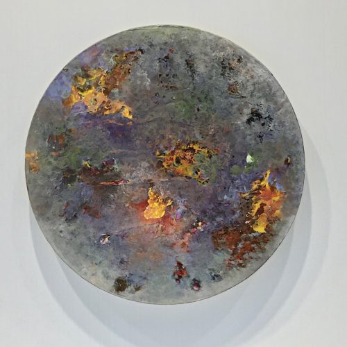"The Sun, The Moon - 10"" diameter, acrylic on paper on panel, 2016"