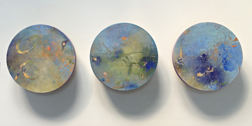Liminal Constellation – three of nine 12 inch discs, acrylic on canvas on panel, 2015, private collection