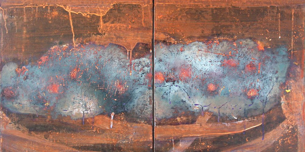 Storm Cradle – 20 × 16 x 2 (diptych), acrylic on canvas, 2000-2009, private collection