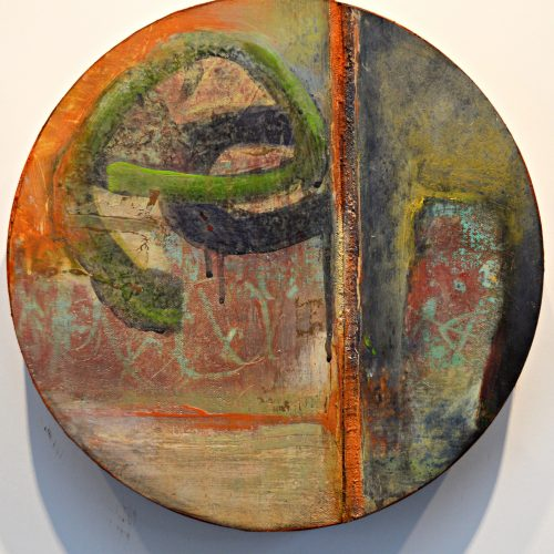 Fissure – 10 inch diameter, acrylic on canvas on panel, 2014, private collection